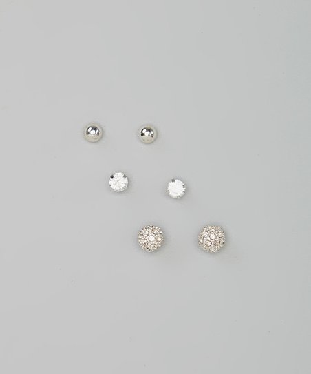 Silver Shimmer Ball Stud Earring Set