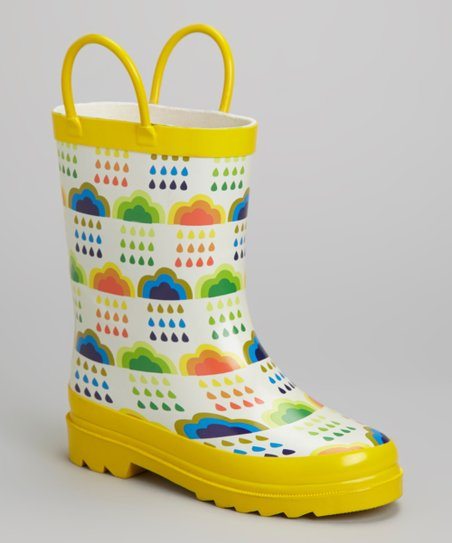 Yellow & White Clouds Rain Boot