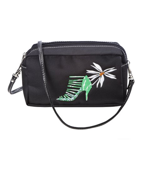 Black Head Over Heels Embroidered Crossbody Bag