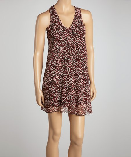Red Cheetah V-Neck Shift Dress