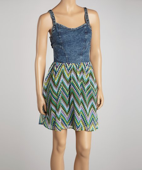 Blue & Green Denim Zigzag Dress