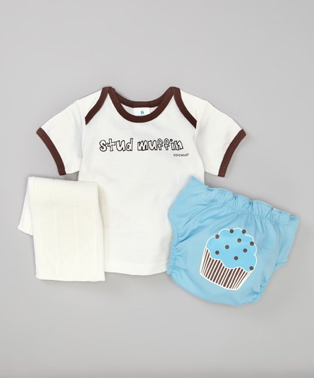 Blue 'Stud Muffin' Lap Neck Tee & Diaper Set