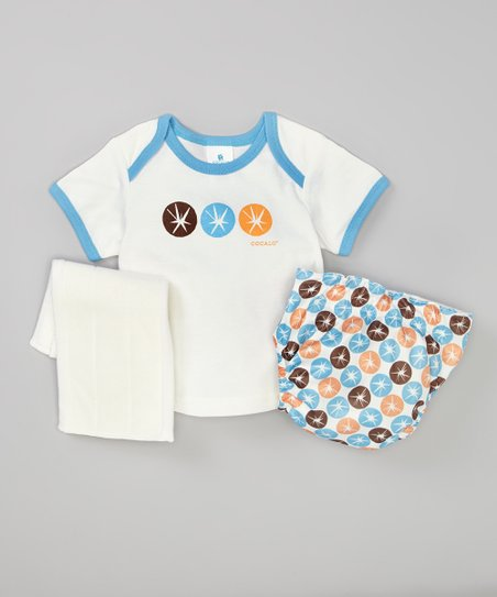 Blue Starburst Lap Neck Tee & Diaper Set