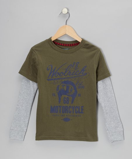 Hunter Green 'Motorcycle' Layered Tee - Toddler & Boys