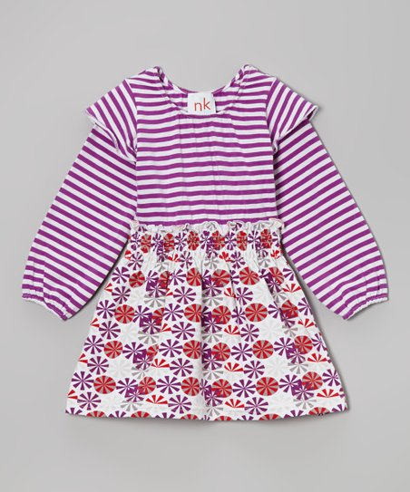 Indigo & Red Circle Olivia Dress - Infant, Toddler & Girls
