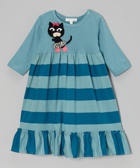 Aqua Kitty Stripe Dress - Infant & Toddler