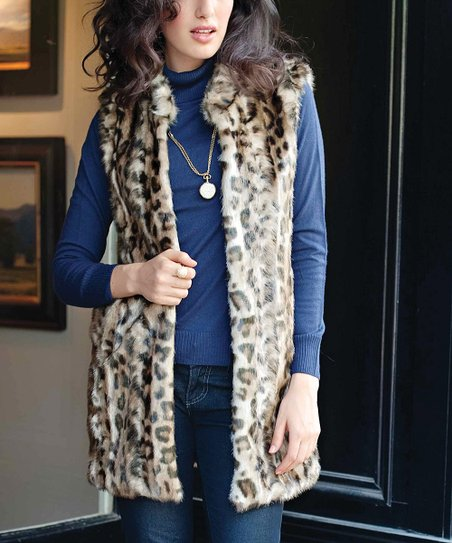 Brown Faux Leopard Vest - Women & Plus
