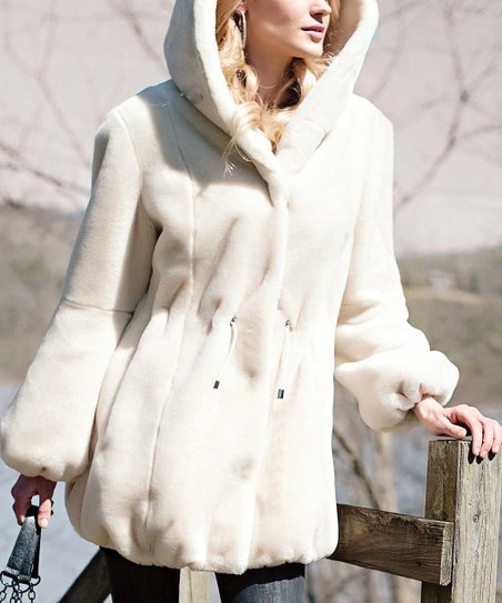 Ivory Hooded Faux Beaver Jacket - Plus