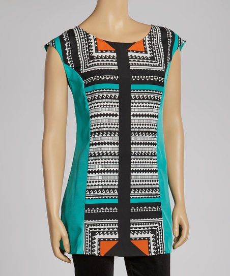 Turquoise Geometric Cap-Sleeve Top