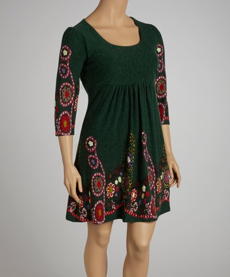 Green Floral Dress - Plus