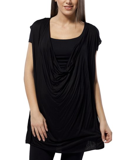 Black Maternity Drape Top