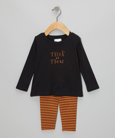 Black 'Trick or Treat' Tunic & Orange Stripe Leggings - Infant