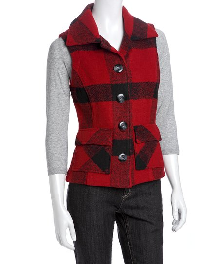 Red & Black Plaid Fleece Vest