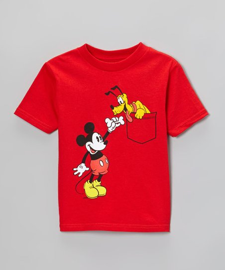 Red Mickey & Pluto Tee - Toddler