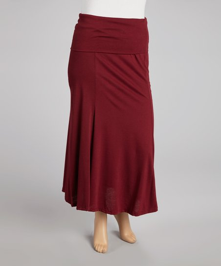 Burgundy Maxi Skirt - Plus