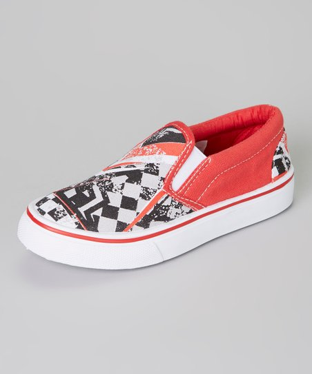 Red & Black Checkerboard Slip-On Sneaker