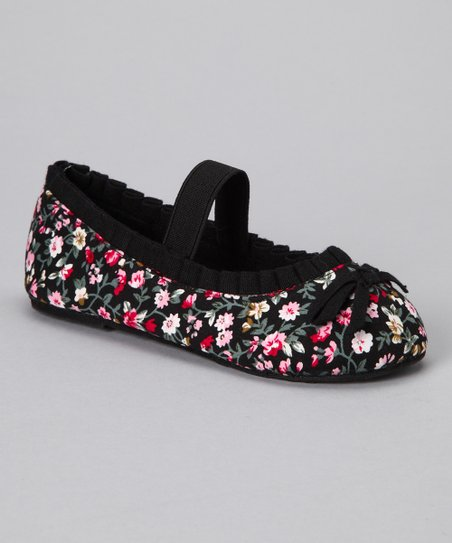 Chatties Black Floral Ballet Flat