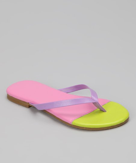 Lime & Light Pink Color Block Flip-Flop