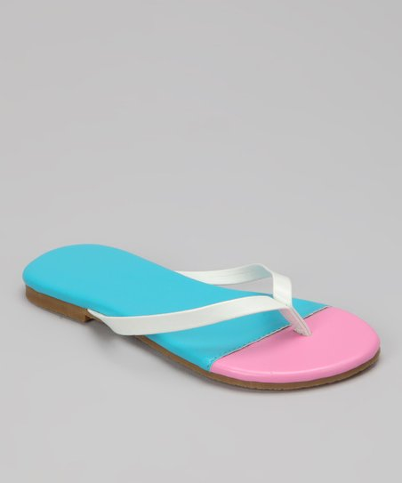 Turquoise & Light Pink Color Block Flip-Flop