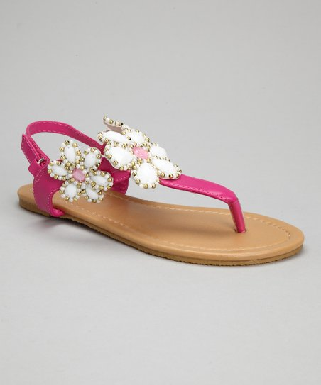 Fuchsia Bead Flower Sandals