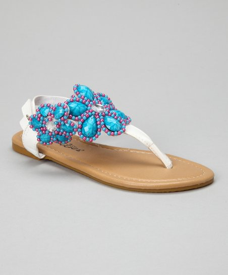 White Bead Flower Sandals
