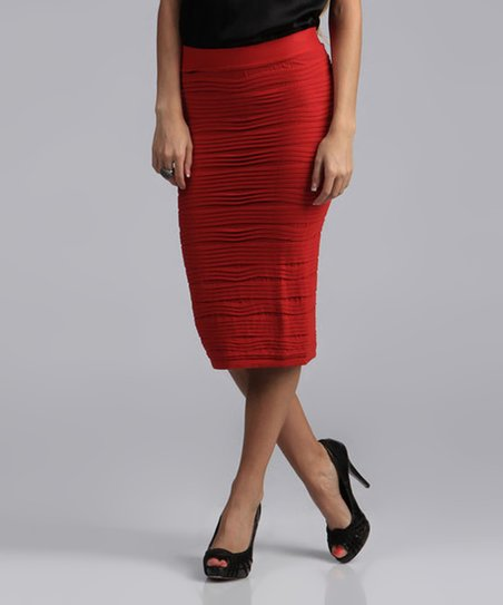 Red Pencil Skirt - Women