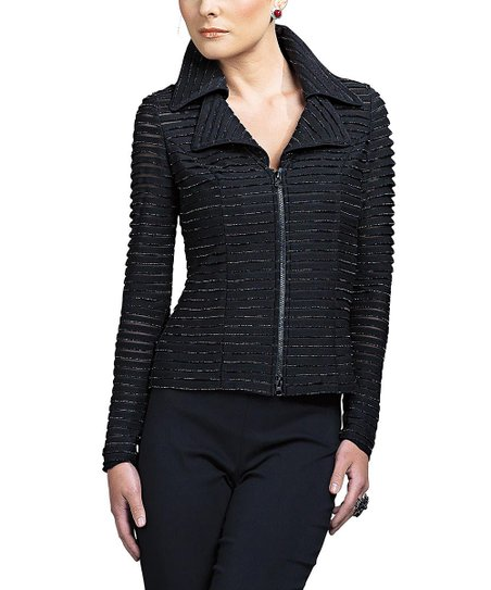 Black Textured Jacket  & Plus
