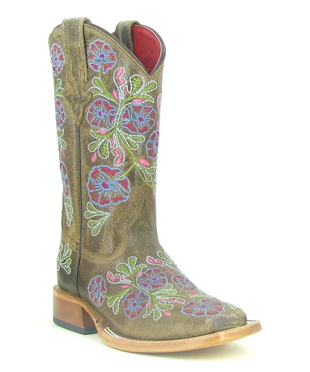 Chocolate Flower Cowboy Boot