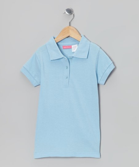 Light Blue Johnny Pique Polo - Girls