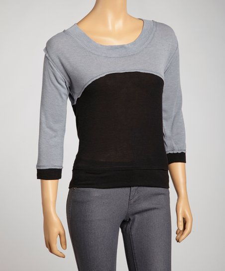 Gray Color Block Sweater