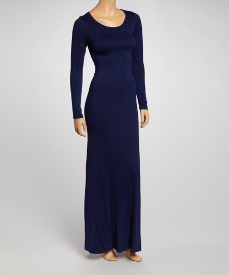 Navy Long-Sleeve Maxi Dress