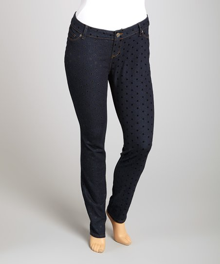 Indigo Flocked Star Skinny Jeans - Plus