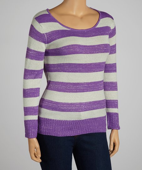 Purple & Gray Stripe Top - Plus