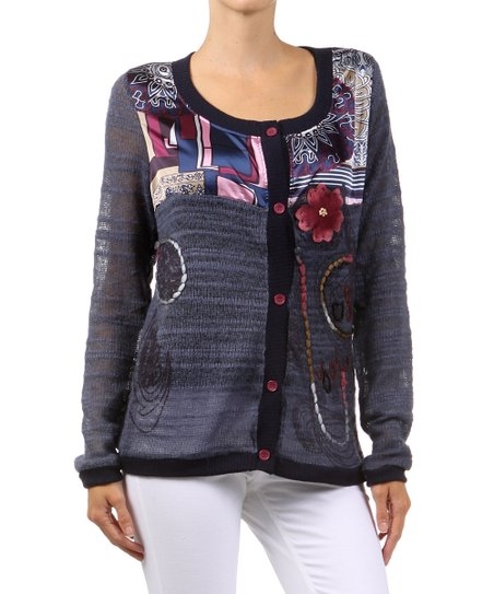Blue Patchwork Embellished Cardigan