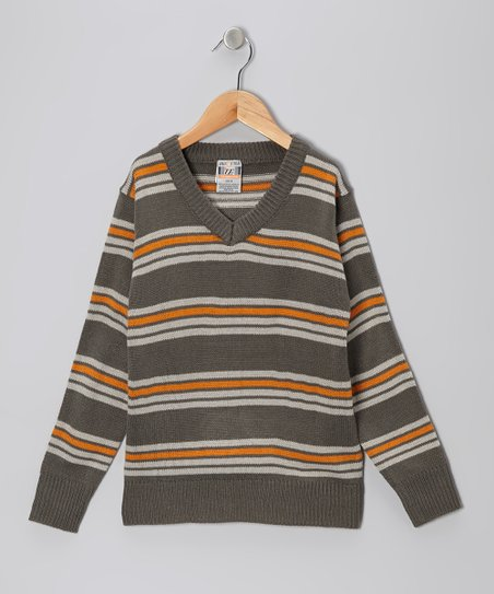 Charcoal & Orange Stripe V-Neck Sweater - Toddler & Boys