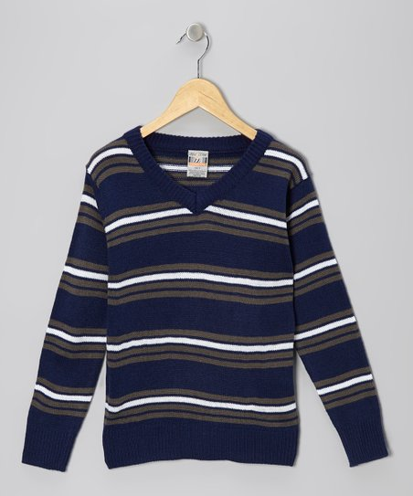Navy & Gray Stripe V-Neck Sweater - Toddler & Boys