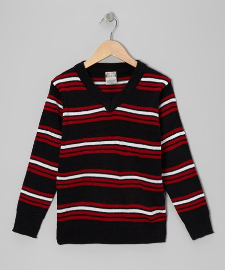 Black & Red Stripe V-Neck Sweater - Toddler & Boys