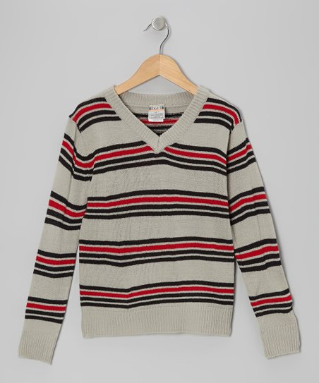 Gray Stripe V-Neck Sweater - Toddler & Boys
