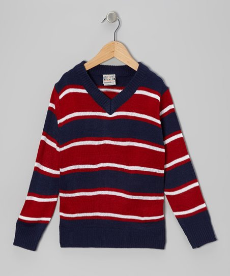 Navy & Red Stripe V-Neck Sweater - Boys