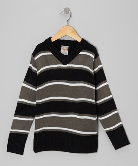 Black Stripe V-Neck Sweater - Boys
