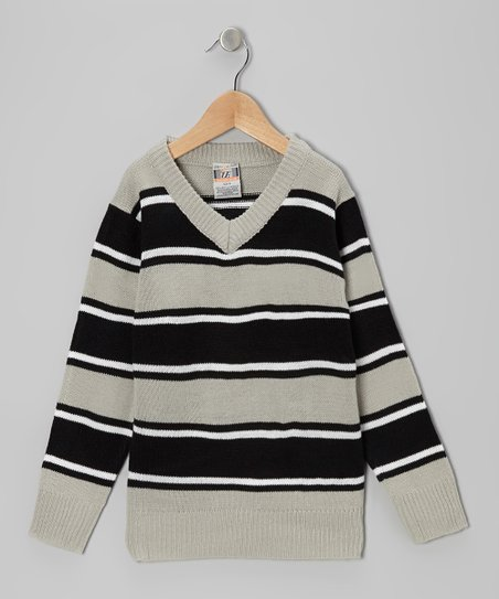 Gray Stripe V-Neck Sweater - Boys