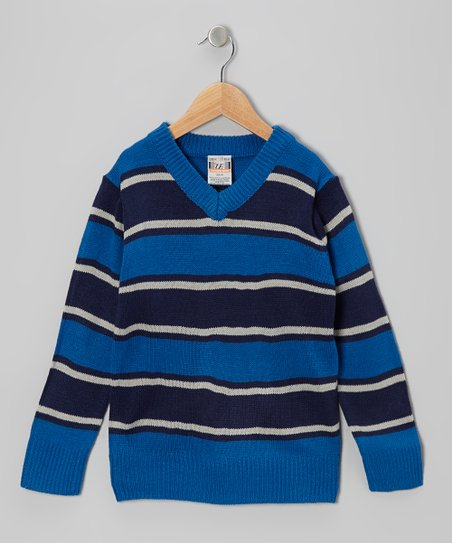 Royal Stripe V-Neck Sweater - Boys
