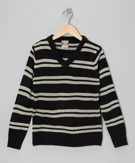 Black & Gray Double Stripe V-Neck Sweater - Toddler & Boys