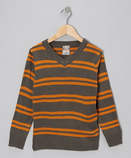 Charcoal & Orange Double Stripe V-Neck Sweater - Toddler & Boys