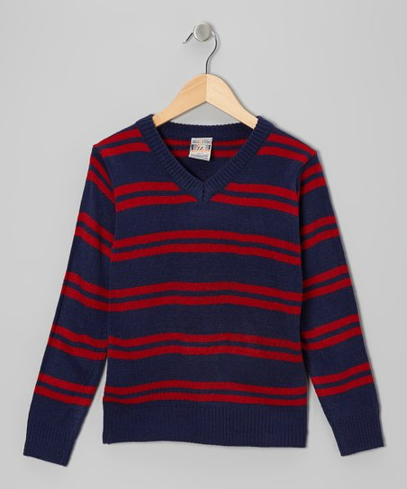 Navy & Red Double Stripe V-Neck Sweater - Toddler & Boys
