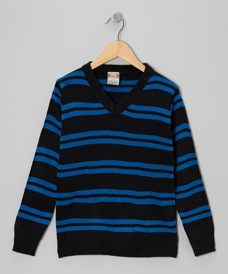 Royal Double Stripe V-Neck Sweater - Toddler & Boys