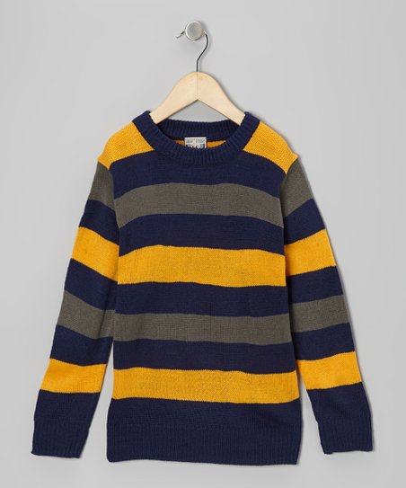 Navy & Yellow Stripe Crewneck Sweater - Boys