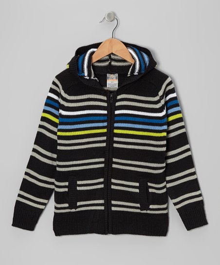 Black Stripe Zip-Up Hoodie - Toddler & Boys