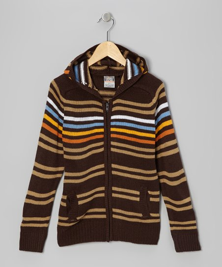 Brown Stripe Zip-Up Hoodie - Toddler & Boys