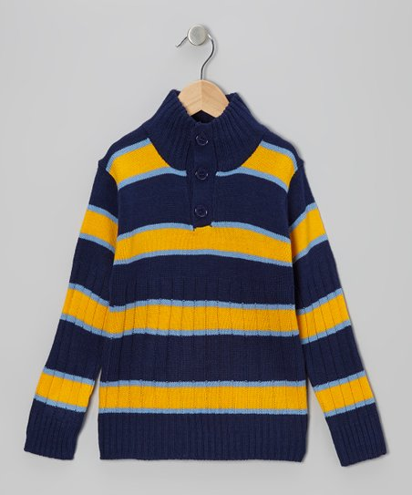 Navy & Yellow Stripe Pullover - Toddler & Boys
